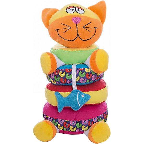Мягкая пирамидка Кот, 20 см, BondibonРазвивающие игрушки<br>Характеристики:<br><br>• возраст: 1+;<br>• в наборе: фигурка котика, четыре кольца;<br>• материал: плюш, текстиль;<br>• габариты упаковки: 15х13х21 см;<br>• вес: 220 г.<br><br>Мягкий забавный кот станет любимой игрушкой малыша. Его можно разбирать на колечки и снова собирать. Разноцветные кольца образуют красивую мягкую пирамидку, с которой можно играть часами. <br><br>Игрушка из мягкого текстиля помогает развивать тактильные ощущения и различать формы предметов.<br><br>Пирамидка поможет познакомить детей с геометрическими фигурами и цветами радуги. Играя с ней, можно легко освоить количественный счет. Малыши будут развивать моторику рук, пространственное мышление, научатся составлять целое из частей.<br><br>Все детали выполнены из качественных материалов и полностью безопасны для здоровья детей.<br><br>Мягкую пирамидку «Кот», 20 см, Bondibon можно приобрести в нашем интернет-магазине.<br>Ширина мм: 150; Глубина мм: 130; Высота мм: 210; Вес г: 225; Возраст от месяцев: 3; Возраст до месяцев: 18; Пол: Унисекс; Возраст: Детский; SKU: 4864526;