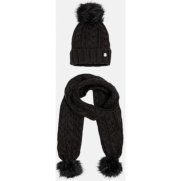 Комплект:шапка и шарф для девочки MayoralГоловные уборы<br>Комплект: шапка и шарф для девочки Mayoral от известного испанского бренда Mayoral. Вязаный комплект выполнен из акриловой пряжи, которая обладает мягкостью, высокой износоустойчивостью. Вязаные издели из акрила хорошо держат форму, не изменяют цвет во время стирки или химчистки. Комплект состоит из шапки и шарфа, связанных узором косы. Шапка имеет классическую форму, с отворотом  из вязанной резинки, сверху имеется меховой помпон в тон шапки, края шарфа также оформлены меховыми помпонами. <br><br>Дополнительная информация:<br><br>- Предназначение: повседневная одежда<br>- Комплектация: шапка, шарф<br>- Цвет: черный<br>- Пол: для девочки<br>- Состав: 100% акрил<br>- Сезон: осень-зима-весна<br>- Особенности ухода: стирка при температуре 30 градусов, разрешается химическая чистка, глажение <br><br>Подробнее:<br><br>• Для детей в возрасте: от 8 лет и до 16 лет<br>• Страна производитель: Китай<br>• Торговый бренд: Mayoral<br><br>Комплект: шапка и шарф для девочки Mayoral (Майорал) можно купить в нашем интернет-магазине.<br>Ширина мм: 89; Глубина мм: 117; Высота мм: 44; Вес г: 155; Цвет: черный; Возраст от месяцев: 84; Возраст до месяцев: 96; Пол: Женский; Возраст: Детский; Размер: 56,58,54; SKU: 4867460;