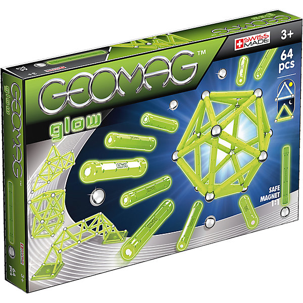Магнитный конструктор Geomag Glow,  64 деталиМагнитные конструкторы<br>Характеристики:<br><br>• возраст: от 3 лет;<br>• материал: пластик, металл, магниты;<br>• комплектация: 64 дет.;<br>• размер: 21х4х32 см;<br>• вес: 820 гр;<br>• страна бренда: Швейцария;<br>• бренд: Geomag.<br><br><br>Магнитный конструктор Geomag  «Glow» состоит из шариков и палочек. Материал выполнен с добавлением светящихся в темноте материалов. Благодаря декоративным элементам на панелях, блоки предлагают еще больше творческих возможностей. <br><br>С помощью различных конструкций вы можете создавать флуоресцентные структуры из научно-фантастических фильмов - только ваше воображение ограничивает вас.<br>Конструктор развивает воображение и пространственное мышление.<br><br>Магнитный конструктор Geomag  «Glow» можно купить в нашем интернет-магазине.<br>Ширина мм: 323; Глубина мм: 213; Высота мм: 48; Вес г: 729; Возраст от месяцев: 36; Возраст до месяцев: 72; Пол: Унисекс; Возраст: Детский; SKU: 4870904;