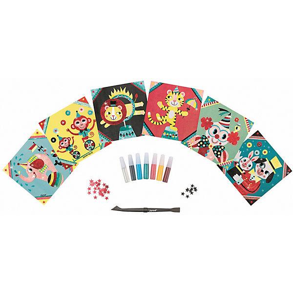 Купить Набор для творчества: посыпаем блестками Цирк , 6 карточек, Janod, Китай, Женский