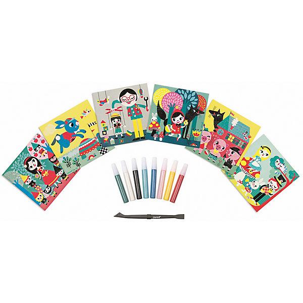 Janod Набор для творчества: посыпаем блестками Сказки, 6 карточек набор ддя творчества tukzar набор цветной пористой резины с блестками толщина 2мм 6л 6цв