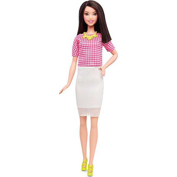 Кукла  Игра с модой, BarbieBarbie<br>Характеристики:<br><br>• возраст: от 3 лет;<br>• материал: пластмасса, текстиль;<br>• высота куклы: 31 см;<br>• вес упаковки: 200 гр.;<br>• размер упаковки: 33х13х6 см;<br>• страна бренда: США.<br><br>Кукла Barbie «Игра с модой» обладает миловидной внешностью. Игрушка одета в белую юбку-карандаш и блузку с модным принтом. Завершают стильный образ ожерелье и желтые босоножки.<br><br>Кукла имеет подвижные части тела, что делает игры еще интересней. Волосы можно расчесывать и делать разные прически, что обязательно понравится девочке. Волосы куклы прошиты, поэтому легко выдерживают многократные эксперименты. Игрушка выполнена из безопасных материалов.<br><br>Куклу «Игра с модой», Barbie можно купить в нашем интернет-магазине.<br>Ширина мм: 60; Глубина мм: 130; Высота мм: 330; Вес г: 230; Возраст от месяцев: 36; Возраст до месяцев: 72; Пол: Женский; Возраст: Детский; SKU: 4874135;