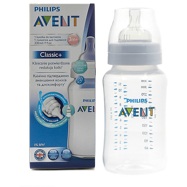 PHILIPS AVENT Бутылочка Classic+, 330 мл, 3мес+ , Philips Avent