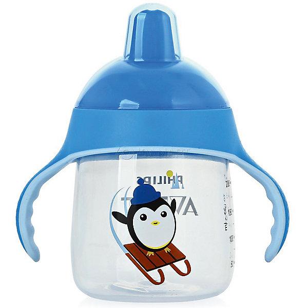 Чашка-поильник, 260 мл, 12 мес+, Philips Avent, голубойПоильники<br>Такая чашка без труда поможет Вашему ребенку отучиться   от бутылочки! Она оснащена специальным клапаном, который предотвращает проливание. Мягкий носик, расположенный под углом, облегчает питье из чашки и предотвращает повреждение нежных десен ребенка.<br><br>Особенности:<br>- Для большего удобства, носик расположен под углом.<br>- Мягкие силиконовые ручки.<br>- Чашка не содержит БИСФЕНОЛ-А.<br>- Можно мыть в посудомоечной машине.<br>- Легко превращается в обычную чашку.<br><br>Дополнительная информация:<br><br>- Возраст: от 12 месяцев.<br>- Объем: 260 мл.<br>- Цвет: голубой.<br>- Размер упаковки: 9х12,5х19,8 см..<br>- Вес в упаковке: 112 г.<br><br>Купить чашку-поильник Philips Avent в голубом цвете, можно в нашем магазине.