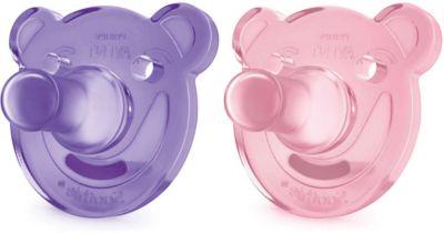 Соска-пустышка с щитком 0-3 мес, 2шт., Philips Avent, розовый/фиолетовый, артикул:4880884 - Уход и гигиена