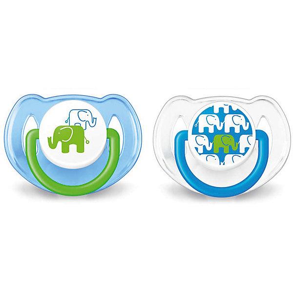 PHILIPS AVENT Соска-пустышка 6-18 мес, 2 шт, «Дизайн», Philips Avent, синий/белый avent philips ортодонтическая для мальчика 6 18 месяцев в ассорт
