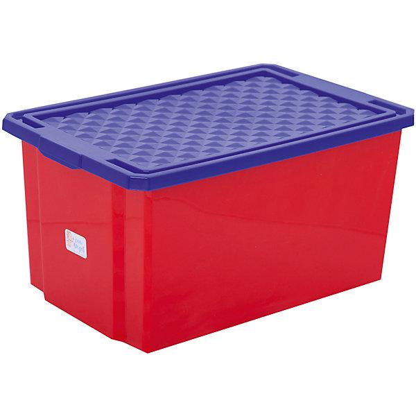 Ящик для хранения игрушек большой 57л на колесах, Little Angel, красный лего