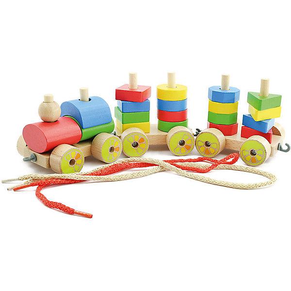 Паровозик (малый), Мир деревянных игрушекДеревянные игрушки<br>Этот яркий паровозик приведет в восторг любого малыша! Колеса игрушки подвижные, вагоны без труда прицепляются друг к другу и представляют собой пирамидки различной формы.<br>Малышу будет интересно самому собрать оригинальный паровозик и потом весело играть с ним. Надо лишь надеть нужные детали на деревянные штырьки на платформе с колесами.<br>Все детали игрушки изготовлены из натурального дерева, раскрашены гипоаллергенными, экологичными красителями, не имеют острых углов, прекрасно обработаны - абсолютно безопасны для детей.<br>Игры с конструктором развивают мелкую моторику, усидчивость, внимание, пространственное мышление, цветовосприятие.<br><br>Дополнительная информация:<br><br>- Возраст: от 3-х лет.<br>- Материал: дерево. <br>- Длина паровозика с вагонами: 33 см.<br>- Длина вагона: 10 см.<br><br>Паровозик (малый) можно купить в нашем магазине.<br>Ширина мм: 165; Глубина мм: 115; Высота мм: 100; Вес г: 425; Возраст от месяцев: 36; Возраст до месяцев: 2147483647; Пол: Унисекс; Возраст: Детский; SKU: 4895904;