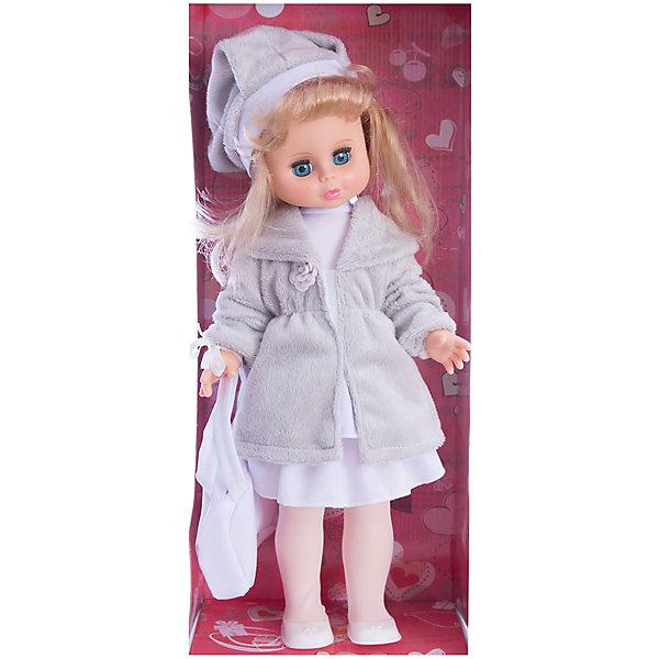 Кукла Оля 1, со звуком, 44 см, ВеснаКуклы<br>Характеристики:<br><br>• тип игрушки: кукла;<br>• комплектация: кукла, одежда, батарейки;<br>• возраст: от 3 лет;<br>• тип питания: батарейки (в комплекте);<br>• размер: 44 см;<br>• бренд: Весна<br>• производство: Россия;<br>• упаковка: картонная коробка блистерного типа;<br>• материал: винил, пластик, текстиль, нейлон.<br><br>Кукла по имени Оля 1 со звуком от российского производителя Весна – это очень миловидный малыш, который станет для ребенка не только любимой куклой, но и интересным спутником для интересных ролевых игр. Кукла выполнена в очень реалистичном стиле, по этому ребенок будет о ней заботится и ухаживать с радостью и вниманием. Кукла Оля 1 из серии «Моя любимая кукла» непременно понравится ребенку потому что позволит разнообразить сюжетные игры. Ее с легкостью можно будет раздевать и одевать, собираясь на прогулку или в гости, менять её образ, создавая разнообразные модные причёски. Куколка реалистично закроет глазки, если её уложить спать и сможет поддержать беседу о музыке и танцах.<br><br>Высота Оли – 44 см. Ее одежда состоит из блузки, юбки, шубки и берета из искусственного меха. На ножках у Оли сетчатые колготки и ботиночки. Так же у нее есть сумочка в тон наряду. Всю одежду можно снимать и надевать обратно. Кукла выполнена с очень высокой степенью детализации. Волосы сделаны из качественного материала, по этому Олю можно расчесывать и делать ей разные прически. У куклы подвижные соединения, по этому она очень подвижна. Ее туловище изготовлено из пластика, а руки и лицо из винила. Благодаря звуковому модулю кукла может произносить до восьми фраз.<br><br>Кукла имеет всю требуемую сертификацию и отвечает предъявляемым нормам и требованиям ТР ТС к игрушкам. Не вызывает аллергию и не выделяет неприятные запахи при использовании. Так же стоит обратить внимание на то, что производитель оставляет за собой право изменения цветовой гаммы, фасона одежды и волос куклы, цвет глаз так же может варьироваться.<br><br