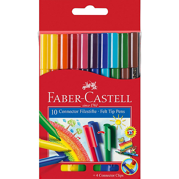 фломастеры faber castell connector 60цв смываемые соединяемые колпачки пластик уп европодв Faber-Castell Фломастеры Faber-Castell Connector, 10 цветов