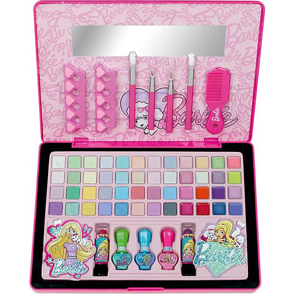 Большой Игровой набор детской декоративной косметики в кейсе, BarbieНаборы детской косметики<br>Большой Игровой набор детской декоративной косметики в кейсе, Barbie (Барби).<br><br>Характеристики:<br><br>• щадящая формула не повреждает ногти ребенка<br>• лак на водной основе<br>• цветовую гамму можно создать самостоятельно<br>• есть все необходимые инструменты<br>• не содержит парабенов и пальмового масла<br>• долго держится и легко стирается<br>• в комплекте: кейс, палитра теней для век (32 оттенка), палитра блесков для губ (16 оттенков), 2 губные помады, 3 флакона с лаком для ногтей, 2 разделителя для пальцев, 2 аппликатора для нанесения теней, расческа, зеркальце, наклейки<br>• размер: 37х5х26 см<br>• вес: 1,4 кг<br>• перед первым применением рекомендуется провести тест на аллергию: нанесите немного косметики на кожу на 30-40 минут и проверьте реакцию<br><br>Что может быть увлекательнее создания макияжа для себя и подружек? Большой набор Барби содержит множество различных оттенков декоративной косметики. Девочка сможет создать макияж, маникюр, педикюр и прическу. Макияж легко смывается водой в случае неудачного нанесения. Вся косметика не содержит вредных веществ и полностью безопасна для ребенка. Яркая упаковка позволяет использовать набор в качестве подарка.<br><br>Большой Игровой набор детской декоративной косметики в кейсе, Barbie (Барби) вы можете купить в нашем интернет-магазине.<br>Ширина мм: 375; Глубина мм: 266; Высота мм: 55; Вес г: 1064; Возраст от месяцев: 48; Возраст до месяцев: 84; Пол: Женский; Возраст: Детский; SKU: 4900295;