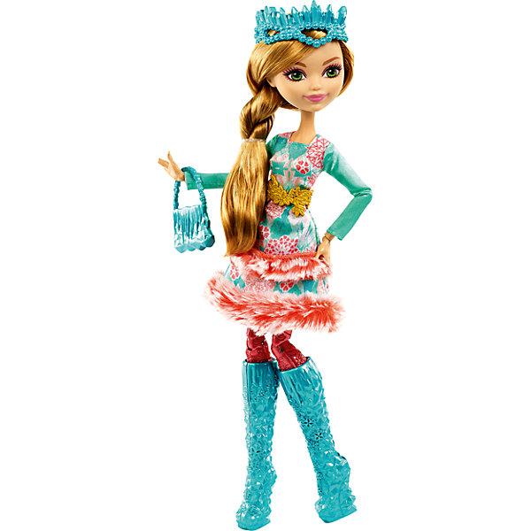 Кукла Эшлин Элла из коллекции Заколдованная зима, Ever After HighБренды кукол<br>Кукла Эшлин Элла из коллекции Заколдованная зима, Ever After High (Школа Долго и счастливо)<br>Кукла Эшлин Элла из новой серии Заколдованная зима  будет отличным подарком для поклонников мультсериала и не только. Ведь это самая первая зимняя серия, выпущенная у кукол Ever After High (Школа Долго и счастливо). Также, эта серия отмечена наиболее естественными чертами лица, минимальным количеством макияжа, что делает куклу более свежей и живой. В дополнение, для поклонников Эшлин Эллы, эта кукла, в отличие от предыдущих ее версий, имеет приятную, располагающую улыбку.<br>В школу Долго и Счастливо как снег на голову пришла зима! Новая серия «Заколдованная зима»  из Ever After High (Школа Долго и счастливо) радует поклонников популярного мультсериала новыми волшебыми зимними нарядами в которых они готовы спасти всю школу от внезапного холода. Эшлин Элла, дочка Золушки, является одной из главных героинь новой серии. Она предствлена в сияющем наряде, утепленном мехом. Морозные узоры на ткани соответствуют особенностям ее характера и личностного стиля героини. Хрустальные сапожки и выполненная в этом же стиле элегантная сумочка из кристаллов отлично сочетаются с нежным цветом зимнего наряда, а прекрасная диадема из ледяных кристаллов напоминает о том, что несмотря на холод, Эшлин Элла – самая настоящая принцесса. В состав гардероба из новой серии входят: хрустальные сапожки, диадема из ледяных кристаллов и сумочка. А для обладательницы куклы приготовлен специальный сюрприз – хрустальное кольцо с розой лета внутри, так как Эшлин Элла является почетной хранительницей розы лета. Также в набор входит дневничок с историей персонажа, а сама кукла может закрепляться на подставке (Подставка в набор не входит).<br>Дополнительная информация:<br>- В комплекте: кукла в одежде и обуви, дневничок, сумочка, диадема, кольцо детского размера<br>- Материал: пластик, текстиль<br>- Высота: 26 см.<br>- Кукла на шар