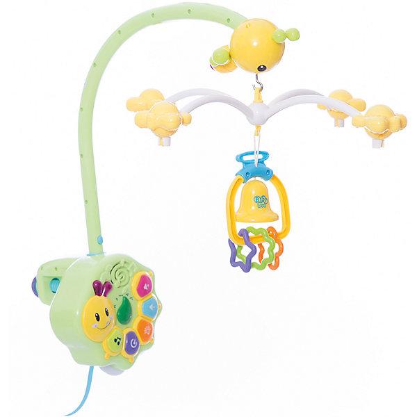 Детская игрушка Музыкальная карусельИгрушки для новорожденных<br>Музыкальная подвеска работает по принципу карусели и предназначена для крепления к детской кроватке. Все элементы подвески выполнены в ярких цветах, что привлечет внимание малыша, который с удовольствием будет наблюдать танец красочных бабочек и пчелок. На пчелке, во время вращения подвесных игрушек, загорается подсветка. Музыкальная подвеска будет способствовать развитию у Вашего малыша концентрации внимании, зрительного и звукового восприятия. Карусель выполнена из высококачественных материалов и украшена яркими подвесными игрушками. У изделия можно выбрать время исполнения мелодий (15, 30 и 60 минут) кнопку выбора одной из десяти мелодий, уровень громкости, режим ночника, отключения вращения подвесных игрушек. Для работы блока необходимы батарейки AА 4 шт., для пульта АА 2шт., (в комплект не входят).<br><br>Дополнительная информация: <br><br>- возраст: любой возраст<br>- пол: для мальчиков и девочек<br>- цвет: голубой, зеленый, оранжевый, желтый.<br>- тип батареек: на батарейках.<br>- материал: пластик.<br>- размер игрушки: 34 * 44 * 16 см.<br>- упаковка: картонная коробка блистерного типа.<br>- регулировка громкости: есть.<br><br>Детскую  игрушку  Музыкальная карусель можно купить в нашем интернет-магазине.<br>Ширина мм: 340; Глубина мм: 180; Высота мм: 430; Вес г: 1930; Возраст от месяцев: -2147483648; Возраст до месяцев: 2147483647; Пол: Унисекс; Возраст: Детский; SKU: 4904797;
