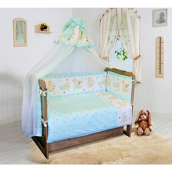Soni Kids Комплект в кроватку 7 предметов kids, Зайчик-садовод, мятный на медиуме