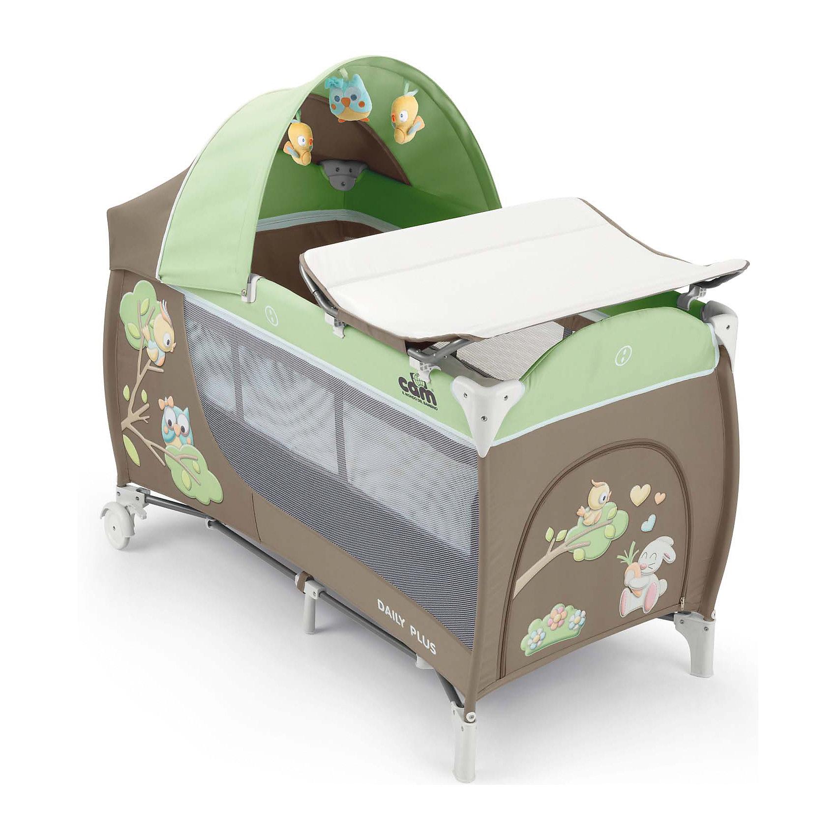 Манеж-кровать Daily Plus Совы, CAM, серый/салатовый