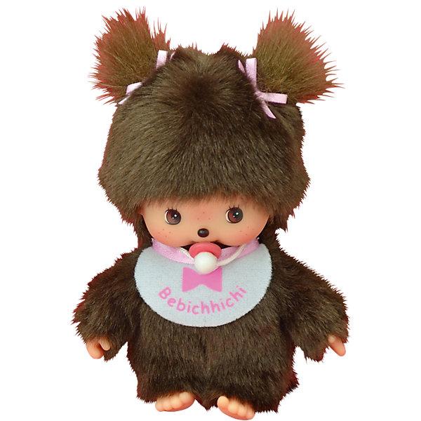 Мягкая игрушка Monchhichi Бэбичичи, девочка в розовом слюнявчике, 15 смМягкие игрушки из мультфильмов<br>Характеристики товара:<br><br>• материал: текстиль, пластик<br>• в наборе: 1 игрушка, соска, слюнявчик<br>• высота игрушки: 15 см<br>• подвижные детали<br>• страна бренда: Япония<br><br>Игрушка японского бренда выполнена из мягких материалов, которые приятны на ощупь. Лицо, ладошки и ступни сделаны из пластика для большей реалистичности. Подвижные конечности позволяют обезьянке менять позу, сосать пальчик. Игрушка имеет слюнявчик с изображением бабочки.
