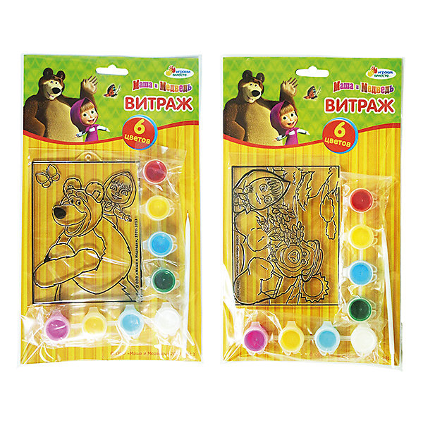 Витраж с красками и кистью, Маша и МедведьМаша и Медведь<br>С витражным набором Маша и Медведь ребенок сможет создать яркую картинку с любимым персонажем. Краски легко наносятся на основу с помощью кисточки, входящей в комплект. В этом наборе есть все для развития воображения и хорошего настроения девочки!<br>Дополнительная информация:<br>-в наборе: основа, 8 баночек с краской, кисточка<br>Сказочный персонаж : Маша и Медведь<br>-вес: 90 грамм<br>-размер упаковки: 17х29х2 см<br>Набор Маша и Медведь вы можете приобрести в нашем интернет-магазине.<br>Ширина мм: 20; Глубина мм: 290; Высота мм: 170; Вес г: 90; Возраст от месяцев: 36; Возраст до месяцев: 84; Пол: Женский; Возраст: Детский; SKU: 4915464;