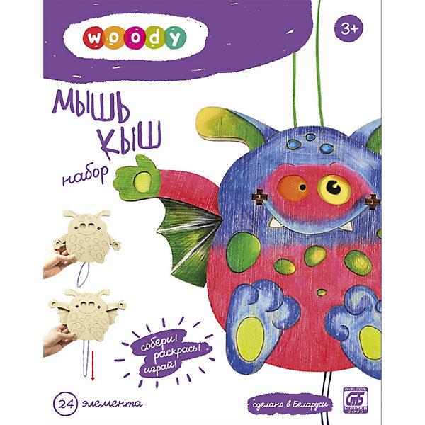 Набор Мышь КышДеревянные конструкторы<br>Деревянные игрушки - это не только красиво, это еще и экологично, интересно и увлекательно! Забавная обучающая игрушка Мышь Кыш - это деревянный пазл в виде летучей мыши, он поможет ребенку научиться сопоставлять детали. В собранном виде мышь двигает крыльями и глазами.<br>Этот пазл обязательно займет ребенка! Игра с ним помогает детям развивать мелкую моторику и познавать мир, также его можно раскрасить по своему усмотрению. Обучающая игрушка сделана из качественных и безопасных для ребенка материалов - натурального дерева.<br><br>Дополнительная информация:<br><br>цвет: дерево;<br>размер упаковки: 16,5 х 21 х 4 см;<br>вес: 200 г;<br>элементов: 24;<br>материал: дерево.<br><br>Набор Мышь Кыш можно купить в нашем магазине.<br>Ширина мм: 210; Глубина мм: 45; Высота мм: 165; Вес г: 226; Возраст от месяцев: 36; Возраст до месяцев: 2147483647; Пол: Унисекс; Возраст: Детский; SKU: 4916355;