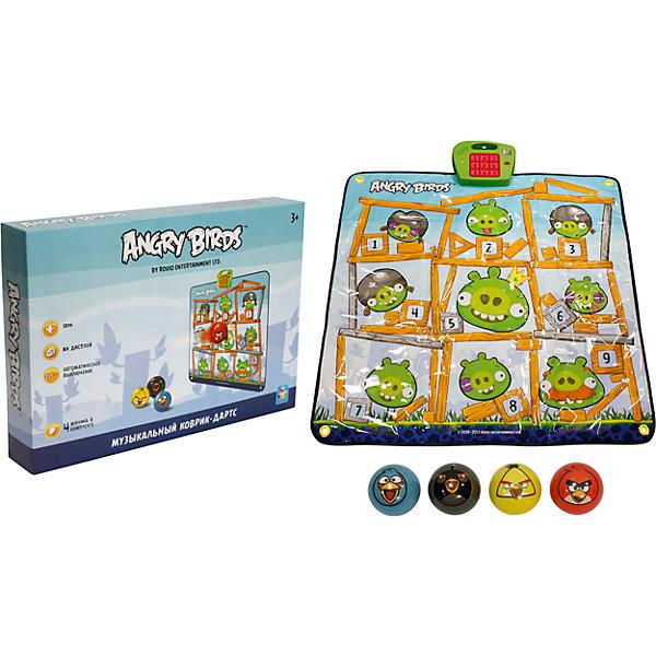 Купить Музыкальный коврик-игра дартс, 4 мячика, Angry Birds, 1Toy, Китай, Унисекс