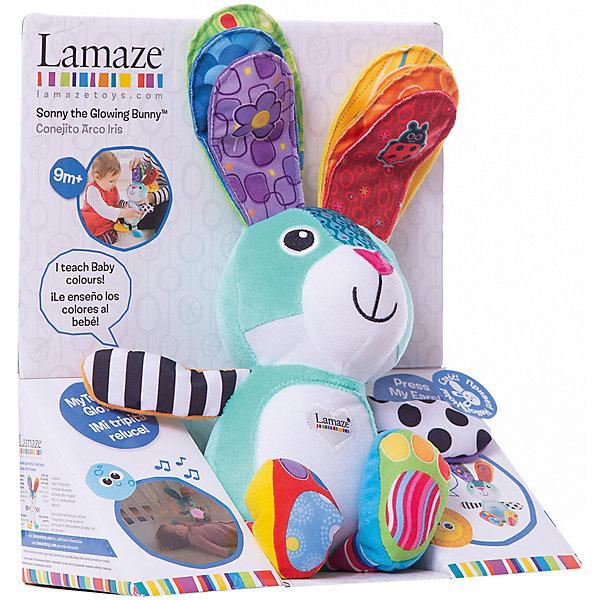 Мягкая игрушка Учёный Зайка. Учим цвета, LamazeМягкие игрушки животные<br>Дети каждый день узнают что-то новое. Сделать процесс познавания мира для малышей - просто! Яркая обучающая игрушка «Учёный Зайка. Учим цвета» поможет ребенку познакомиться с цветами и весело провести время. Игрушка сделана из мягких материалов разной фактуры, что развивает тактильное восприятие ребенка. Зайка оснащен разными звуковыми и световыми эффектами - если нажать на одно ушко, у зайчика засветится животик и он произнесет название цвета. При нажатии на оба ушка одновременно раздастся веселая музыка (живот засветится разными цветами). Игрушку можно использовать и в качестве ночника.(нажмите для этого на лапку зайчика, живот будет мягко светиться, заиграет успокаивающая мелодия). <br>Этот зайка обязательно займет ребенка! Игра с ним помогает детям развивать мелкую моторику, внимательность и познавать мир. Обучающая игрушка сделана из качественных и безопасных для ребенка материалов.<br><br>Дополнительная информация:<br><br>цвет: разноцветный;<br>размер:  9,5 x 16,5 x 24 см;<br>для работы необходимы батарейки AAAх3;<br>материал: текстиль.<br><br>Мягкую игрушку Учёный Зайка. Учим цвета, Tomy Lamaze можно купить в нашем магазине.<br>Ширина мм: 250; Глубина мм: 280; Высота мм: 125; Вес г: 380; Возраст от месяцев: 108; Возраст до месяцев: 2147483647; Пол: Унисекс; Возраст: Детский; SKU: 4918474;