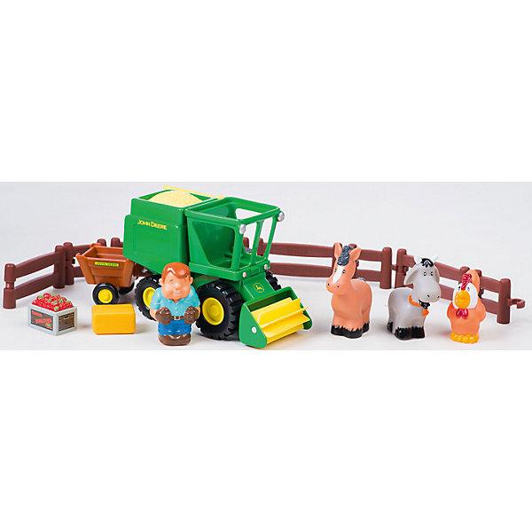 TOMY Игровой набор Уборка урожая, John Deere, Tomy игровой набор tomy приключения трактора джонни и коровы на ферме 9 предметов 37722 1