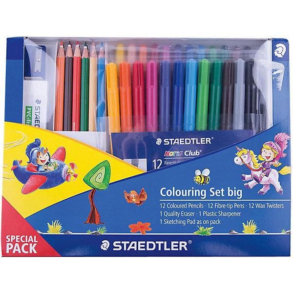 Набор для рисования, StaedtlerКанцелярские наборы<br>Новый промонабор для рисования от Staedtler в спец. упаковке. Включает 16 предметов: 12 шт.  - цветные карандаши 144; 1 уп. (12 шт.)   - фломастеры 325WP12; 1 уп.(12 шт.) - восковые мелки;<br> 1шт. - ластик; 1 шт. - пластиковая точилка для карандашей.<br>Ширина мм: 239; Глубина мм: 182; Высота мм: 26; Вес г: 45; Возраст от месяцев: 84; Возраст до месяцев: 168; Пол: Унисекс; Возраст: Детский; SKU: 4918522;