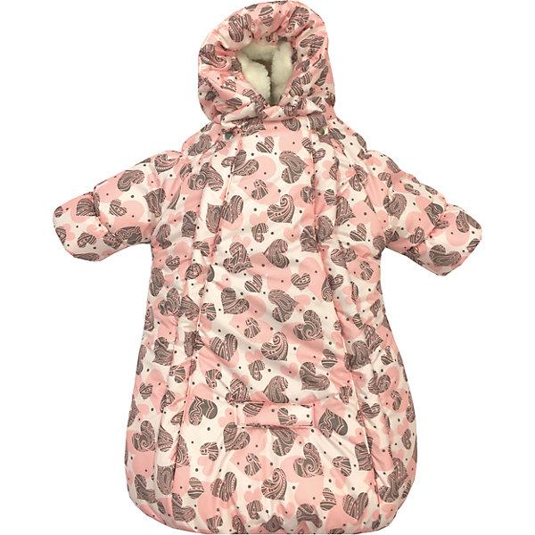 Конверт-комбинезон с ручками Сердца, овчина, СуперМаМкет, ярко-розовыйДетские конверты<br>Характеристики:<br><br>• Вид детской одежды: верхняя<br>• Предназначение: для прогулок, на выписку<br>• Возраст: от 0 до 6 месяцев<br>• Сезон: зима<br>• Степень утепления: высокая<br>• Температурный режим: от 0? С до -30? С<br>• Пол: для девочки<br>• Тематика рисунка: сердечки<br>• Цвет: оттенки розового, коричневый<br>• Материал: верх – мембрана (плащевка), утеплитель – 150 г. синтепона, подклад – овечий ворс на тканевой основе<br>• Форма конверта: комбинезон-конверт<br>• По бокам имеются застежки-молнии<br>• Застежка на кнопках у горловины<br>• На комбинезоне предусмотрены прорези как для 3-х точечных, так и для 5-ти точечных ремней безопасности<br>• У рукавов предусмотрены манжеты-отвороты<br>• Капюшон с регулировкой по овалу лица<br>• Размеры (Ш*Д): 45*75 см, длина от плеча до низа 56 см<br>• Вес: 800 г <br>• Особенности ухода: допускается деликатная стирка без использования красящих и отбеливающих средств<br><br>Комбинезон-конверт от СуперМаМкет выполнен в форме расширенного книзу кокона, на рукавах предусмотрены отвороты для защиты от холода детских ручек, капюшон имеет регулировку по овалу лица, а у горловины имеются застежки на кнопках. Верх изделия выполнен из плащевки, которая отличается повышенными качествами износоустойчивости и обладает повышенными защитными свойствами от влаги и ветра. Изделие имеет двойное утепление: из синтепона (150 г.) и подклада, выполненного из специально обработанного овечьего ворса, что обеспечивает повышенные теплоизоляционные свойства и придает изделию дополнительную мягкость. Конверт-комбинезон с ручками Сердца, овчина, СуперМаМкет, ярко-розовый оснащен боковыми застежками-молниями, которые расстегиваются до самого низа, что обеспечивает удобство в одевании ребенка. Комбинезон выполнен в стильном дизайне: принт из сердечек коричневого и розового цветов придает изделию особый стиль и изысканность, поэтому его можно использовать не только