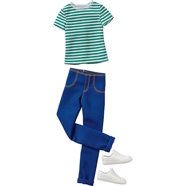 Одежда для Кена, BarbieОдежда для кукол<br>Характеристики:<br><br>• возраст: от 3 лет;<br>• материал: пластмасса, текстиль;<br>• в наборе: комплект одежды, обувь;<br>• для куклы высотой: 30 см;<br>• вес упаковки: 59 гр.;<br>• размер упаковки: 11,5х25,5х1,5 см;<br>• страна бренда: США.<br><br>Дополнительный комплект одежды для куклы Кена Barbie подойдет для повседневной носки и прогулок. Футболка в полоску и джинсы с кедами завершат молодежный образ куклы.<br><br>Одежду для Кена, Barbie можно купить в нашем интернет-магазине.