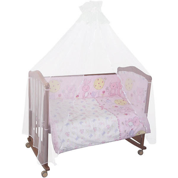 Сонный гномик Комплект в кроватку 7 предметов Сонный гномик, Акварель, розовый