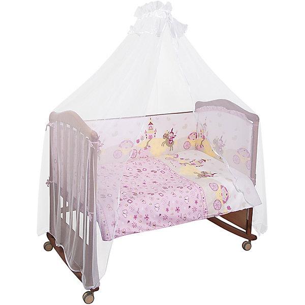 Сонный гномик Комплект в кроватку 7 предметов Сонный гномик, Золушка, розовый борт в кроватку сонный гномик считалочка бежевый бсс 0358105 4