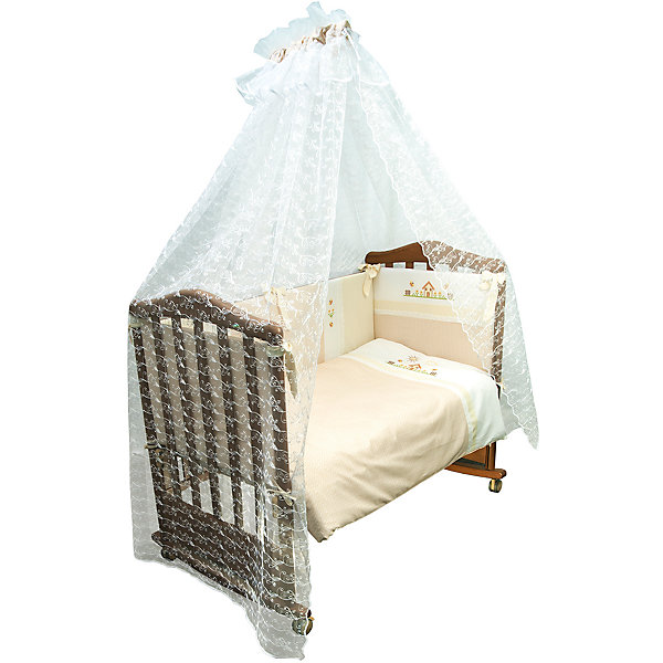 Комплект в кроватку 7 предметов Сонный гномик, Кантри, бежевыйПостельное белье в кроватку новорождённого<br>Постельное белье Кантри 7 предм., Сонный гномик, бежевый состоит из постельных принадлежностей, необходимых для детской кроватки: одеяло, подушка, простынь, пододеяльник, наволочка, бортики и балдахин. Комплект подходит для кроваток любого типа стандартного размера 120*60 см. Все изделия комплекта выполнены из сатина высокого качества, который обладает устойчивостью к деформации и изменению цвета, даже при частых стирках не образуются потертости и катышки. В одеяле и подушке в качестве наполнителя использован холлофайбер, который обладает высокой воздухопроницаемостью, водоотталкивающими и гипоаллергенными свойствами. Бортик для кроватки состоит из четырех частей, которые крепятся за счет завязок. Комплект выполнен в нежном бежевом цвете, украшен стилизованным под вышивку крестиком принтом селького домика.   <br>Постельное белье Кантри 7 предм., Сонный гномик, бежевый обеспечит ребенку крепкий, здоровый и безопасный сон. <br><br>Дополнительная информация:<br><br>- Предназначение: для детской кроватки<br>- Комплектация: одеяло и пододеяльник (110*140 см), подушка и наволочка (40*60 см), простынь (100*140 см), бортики из четырех частей, балдахин (4 м)<br>- Материал: сатин, полиэстер (балдахин)<br>- Наполнитель: холлофайбер<br>- Пол: для мальчика/для девочки<br>- Цвет: бежевый, белый<br>- Размеры упаковки (Д*Ш*В): 65*20*50 см<br>- Вес: 3 кг 500 г<br>- Особенности ухода: разрешается стирка при температуре не более 40 градусов<br><br>Подробнее:<br><br>• Для детей в возрасте от 0 месяцев и до 4 лет<br>• Страна производитель: Россия<br>• Торговый бренд: Leader kids<br><br>Постельное белье Кантри 7 предм., Сонный гномик, бежевый можно купить в нашем интернет-магазине.