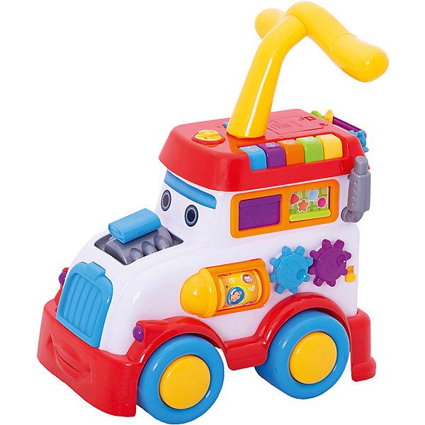 Каталка Паровоз, со звуком, Shantou GepaiКаталки и качалки<br>Каталка Паровоз, со звуком, Shantou Gepai – это веселый паровозик, с которым так удобно ходить! Ребенок может опираться на удобную ручку паровозика и передвигаться вместе с ним. Этот многофункциональный паровозик имеет много цветных кнопочек, которые издают звуки наиболее популярных видов транспорта (машин, вертолета, паровоза) и звуки зверей (уточки, курочки, коровки, собачки), а вместо пара у паровозика разноцветные маленькие шарики. С этой каталкой малыш сможет развить навыки координации движения и навыки управления.<br><br>Дополнительная информация:<br><br>- В комплект входит: 1 каталка<br>- Материал: АБС пластик<br>- Размер: 43 * 25 * 30 см<br>- Необходимы четыре батарейки типа АА (не входят в комплект)<br><br>Каталку Паровоз, со звуком, Shantou Gepai можно купить в нашем интернет-магазине.<br><br>Подробнее:<br>• Для детей в возрасте: от 3 лет<br>• Номер товара: 4925515<br>Страна производитель: Китай<br>Ширина мм: 425; Глубина мм: 250; Высота мм: 295; Вес г: 3806; Возраст от месяцев: 12; Возраст до месяцев: 60; Пол: Унисекс; Возраст: Детский; SKU: 4925515;