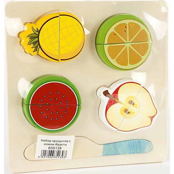 Набор продуктов с ножом Фрукты, Shantou GepaiИгрушечные продукты питания<br>Набор продуктов с ножом Фрукты, Shantou Gepai развлечет вашу кроху! Набор из разделочной доски, пластикового ножичка и четырех фруктов привлечет внимание малыша и сделает игру в повара и кухню еще увлекательнее. Каждые кусочки фруктов соединены между собой липучками и ребенок разделяет их «разрезая» ножичком из набора. Готовьте вкусные салаты, компоты и варенье, с таким набором все по плечу. Играя с таким набором ребенок развивает моторику ручек и развивает навыки логического мышления.<br><br>Дополнительная информация:<br><br>- В комплект входит: 1 доска, 1 ножичек, яблочко, ананас, апельсин, арбуз<br>- Материал: пластик<br>- Размер с упаковкой: 18 * 18 * 2 см<br>- Вес: 0,42 кг.<br><br>Набор продуктов с ножом Фрукты, Shantou Gepai можно купить в нашем интернет-магазине.<br><br>Подробнее:<br>• Для детей в возрасте: от 2 до 6 лет<br>• Номер товара: 4925553<br>Страна производитель: Китай<br>Ширина мм: 180; Глубина мм: 20; Высота мм: 180; Вес г: 602; Возраст от месяцев: 36; Возраст до месяцев: 120; Пол: Унисекс; Возраст: Детский; SKU: 4925553;