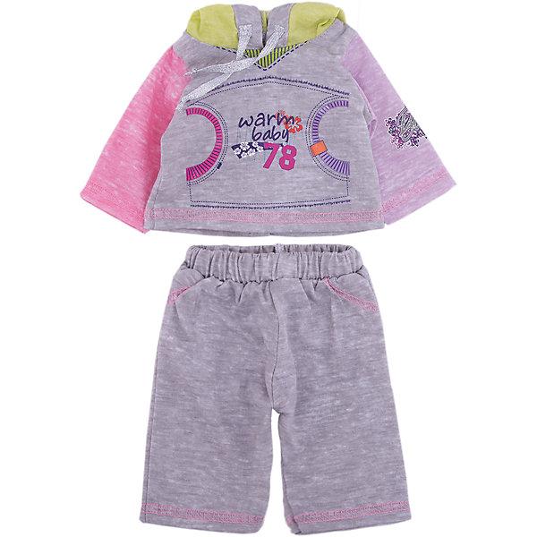 Одежда для куклы 42 см, спортивный костюм, Mary PoppinsОдежда для кукол<br>Характеристики:<br><br>• возраст: от 3 лет;<br>• материал: текстиль;<br>• высота куклы: 38-42 см;<br>• комплект: штаны, кофта с капюшоном;<br>• вес упаковки: 110 гр.;<br>• размер упаковки: 32х1х23 см;<br>• страна производитель: Китай.<br><br>Линейка кукольной одежды Mary Poppins создана из приятных на ощупь материалов. Новый наряд для любимой куклы не только меняет образ игрушки, но и создает новые сюжеты для игр.<br><br>Наличие разных комплектов позволит переодевать куклу в соответствии с временем года. Штанишки и кофту можно стирать. Одежда в упаковке находится на небольшой вешалке.<br><br>Одежду для куклы 42 см, спортивный костюм, Mary Poppins можно купить в нашем интернет-магазине.<br>Ширина мм: 210; Глубина мм: 5; Высота мм: 280; Вес г: 272; Возраст от месяцев: 36; Возраст до месяцев: 120; Пол: Женский; Возраст: Детский; SKU: 4925576;