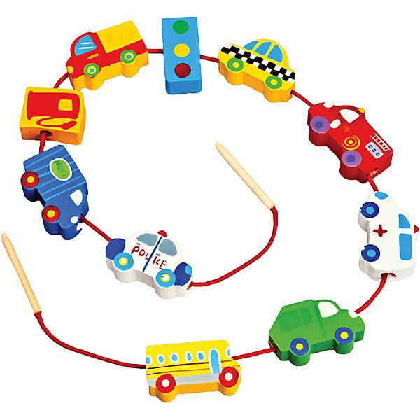 Шнуровка - бусы Транспорт, MapachaРазвивающие игрушки<br>Шнуровка - бусы Транспорт от популярного бренда развивающих детских товаров Mapacha (Мапача) развлечет вашего ребенка. Десять ярких фигурок-бусинок с транспортом и светофором придут по вкусу вашему малышу и позволят придумать множество комбинаций нанизывания и разных историй связанных с транспортом и дорогами. В набор входят удобные большие деревянные иглы, с помощью которых ребенку удобно нанизывать бусины. Этот набор изготовлен из экологически чистого и натурального материала – дерева, отлично отшлифован и окрашен в яркие цвета. Все фигурки раскрашены безопасными красками. С помощью шнуровки малыш сможет развить логику, разработать моторику рук, внимание и воображение.<br><br>Дополнительная информация:<br><br>- В комплект входит: 10 фигурок, 1 шнурок с деревянными иглами<br>- Материал: дерево, текстиль<br>- Размер бусин: 3-4 см.<br>- Вес: 0,1 кг.<br><br>Шнуровку - бусы  Транспорт , Mapacha (Мапача) можно купить в нашем интернет-магазине.<br><br>Подробнее:<br>• Для детей в возрасте: от 3 до 7 лет<br>• Номер товара: 4925609<br>Страна производитель: Китай<br>Ширина мм: 160; Глубина мм: 50; Высота мм: 220; Вес г: 9; Возраст от месяцев: 36; Возраст до месяцев: 84; Пол: Унисекс; Возраст: Детский; SKU: 4925609;