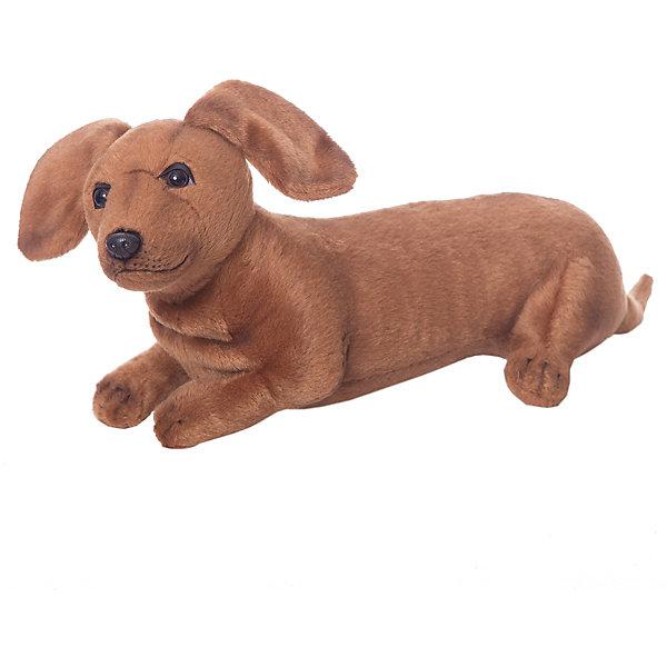 Мягкая игрушка Hansa Собаки Щенок таксы, 40 смМягкие игрушки-собаки<br>Характеристики товара:<br><br>• материал: проволока, искусственный мех, наполнитель, пластик<br>• серия: Собаки<br>• размер игрушки: 40 см<br>• вес в упаковке: 320 г<br>• размер упаковки: 40х13х16 см<br>• страна бренда: Филиппины<br><br>Забавный щенок таксы окрашен в коричневый цвет и сделан в лежачем положении. Мордочка очень милая и добрая, ушки свисают по бокам, а сзади есть хвостик. Выполнена максимально реалистично и похож на настоящую собаку. Внутри имеется прочный проволочный каркас, который сохраняет форму игрушки. А шёрстка с коротким ворсом приятная на ощупь и не вызывает аллергии.
