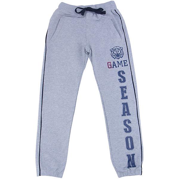 Брюки для мальчика LuminosoСпортивная форма<br>Спортивные брюки для мальчиков с лампасами по бокам. Эластичный пояс с внутренней резинкой, с дополнительным  шнурком. Декорирован принтом.<br>Состав:<br>95% хлопок 5% эластан<br>Ширина мм: 215; Глубина мм: 88; Высота мм: 191; Вес г: 336; Цвет: серый; Возраст от месяцев: 156; Возраст до месяцев: 168; Пол: Мужской; Возраст: Детский; Размер: 158,164,134,152,146,140; SKU: 4931026;