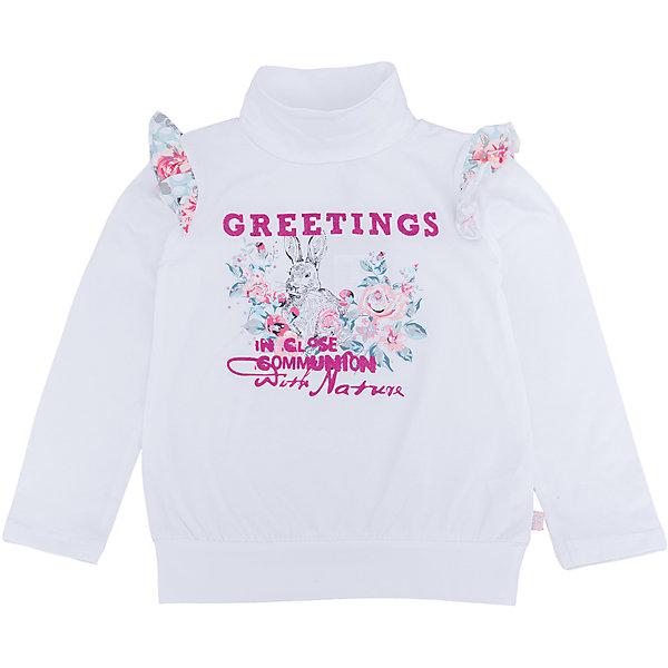 Водолазка для девочки Sweet BerryВодолазки<br>Водолазка – стильная и удобная вещь, которая способна одновременно создать стильный образ и защитить от осенних холодов маленького ребенка. Воланы на рукавах контрастного материала – особенность модели из новой коллекции. Насыщенный цвет, не теряющий сочность со временем, приятная к телу ткань и модный принт образуют уникальную футболку для девочки. Универсальный крой поможет создать множество образов. Материалы, использованные при изготовлении одежды, полностью безопасны для детей и отвечают всем требованиям по качеству продукции данной категории.<br><br>Дополнительная информация: <br><br>воланы на плечах;<br>модный принт;<br>прямой силуэт;<br>цвет: белый;<br>материал: хлопок 95%, эластан 5%.<br><br>Водолазку для девочки от компании Sweet Berry можно приобрести в нашем магазине.<br>Ширина мм: 230; Глубина мм: 40; Высота мм: 220; Вес г: 250; Цвет: белый; Возраст от месяцев: 84; Возраст до месяцев: 96; Пол: Женский; Возраст: Детский; Размер: 128,98,122,116,110,104; SKU: 4931876;