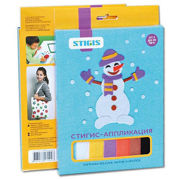 Стигис-аппликация картинка СнеговикАппликации из бумаги<br>Стигис-аппликация Снеговик - отличный набор для детского творчества. Для создания яркой и необычной картины нужно вырезать детали из ткани с термоклеящимся слоем, выложить их на основу и прогладить с помощью утюга. Веселый снеговик готов! Поделкой ребенок с удовольствием похвастается перед друзьями или оставит в подарок. Замечательный выбор для развития творческих навыков!<br><br>Дополнительная информация:<br>В комплекте: основа, ткань с контурами деталей, инструкция<br>Размер: 1,5х23х15 см<br>Вес: 54 грамма<br>Вы можете приобрести стигис-аппликацию Снеговик в нашем интернет-магазине.<br>Ширина мм: 150; Глубина мм: 230; Высота мм: 15; Вес г: 54; Возраст от месяцев: 60; Возраст до месяцев: 2147483647; Пол: Унисекс; Возраст: Детский; SKU: 4939447;