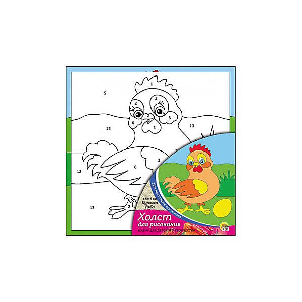 Холст с красками по номерам Курочка Ряба, 15х15 смКартины по номерам<br>Набор для творчества Курочка Ряба поможет ребенку своими руками создать яркий, привлекающий внимание шедевр. Достаточно правильно нанести на рисунок краску, соответствующую номеру на холсте, и картинка словно оживет и будет привлекать внимание своей красотой и уникальностью. В процессе творчества ребенок будет развивать художественные навыки и внимание. Отличный выбор для творческих детей!<br><br>Дополнительная информация:<br>В комплекте: 1 холст с эскизом, 7 акриловых красок, кисточка<br>Сказочный персонаж: Курочка Ряба<br>Размер: 15х1,5х15 см<br>Вес: 140 грамм<br>Вы можете купить набор для творчества Курочка Ряба в нашем интернет-магазине.<br>Ширина мм: 150; Глубина мм: 15; Высота мм: 150; Вес г: 140; Возраст от месяцев: 36; Возраст до месяцев: 120; Пол: Унисекс; Возраст: Детский; SKU: 4939502;