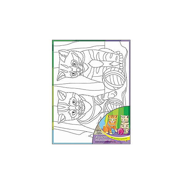 Холст с красками Котята с клубками, 30х40 смКартины по номерам<br>Для любителей творчества прекрасно подойдет набор Котята с клубками. Ребенок раскрасит нанесенный на холст эскиз яркими акриловыми красками. Такое творчество поможет развить аккуратность, усидчивость и художественные навыки. Готовую картину можно подарить друзьям или оставить для украшения своей комнаты.<br><br>Дополнительная информация:<br>В наборе: холст-эскиз, 16 акриловых красок, кисточка<br>Размер: 30х1,5х40 см<br>Вес: 370 грамм<br>Вы можете приобрести холст с красками Котята с клубками в нашем интернет-магазине.<br>Ширина мм: 400; Глубина мм: 15; Высота мм: 300; Вес г: 370; Возраст от месяцев: 36; Возраст до месяцев: 120; Пол: Унисекс; Возраст: Детский; SKU: 4939551;