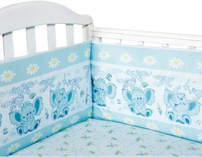 Бортик в кроватку Слоник Элит бязь Люкс, Baby Nice, голубой, артикул:4941783 - Детский текстиль