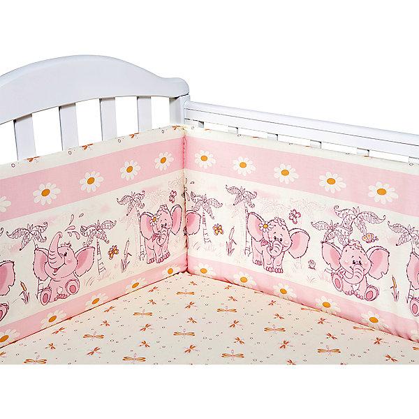Бортик в кроватку Слоник Элит бязь Люкс, Baby Nice, розовыйПостельное белье в кроватку новорождённого<br>Постельные принадлежности для детей должны быть качественными и безопасными. Этот бортик разработан специально для малышей. Бортик защитит ребенка от сквозняков и ударов при поворотах в кровати.<br>Чехол - из натурального дышащего хлопка, приятного на ощупь. Он не вызывает аллергии, что особенно важно для малышей. Наполнитель - экологически чистый нетканый материал для мягкой мебели периотек, легкий, упругий и обеспечивающий хорошую терморегуляцию. Бортик сделана из высококачественных материалов, безопасных для ребенка.<br><br>Дополнительная информация:<br><br>цвет: розовый;<br>материал: хлопок, периотек;<br>4 стороны: 120х32 - 2 шт., 60х35 - 2 шт.;<br>декорирован принтом.<br><br>Бортик Слоник Элит бязь Люкс от компании Baby Nice можно купить в нашем магазине.<br>Ширина мм: 600; Глубина мм: 1200; Высота мм: 200; Вес г: 700; Возраст от месяцев: 0; Возраст до месяцев: 36; Пол: Унисекс; Возраст: Детский; SKU: 4941784;