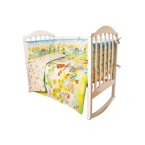 Комплект в кроватку 6 предметов Baby Nice, Сказки Теремок, желтыйДетское постельное бельё 6 предметов<br>Малыши требуют особой заботы. Постельное белье для них должно быть качественным и безопасным. Этот комплект обеспечит малышу комфорт и тепло в кроватке. Он украшен симпатичным принтом.<br>Набор сшит из натуральной дышащего материала - хлопка, мягкого и приятного на ощупь. Она не вызывает аллергии, что особенно важно для малышей. Также материал обеспечит хорошую терморегуляцию. Комплект сделан из высококачественных материалов, безопасных для ребенка.<br><br>Дополнительная информация:<br><br>цвет: желтый;<br>материал: 100% хлопок, наполнитель - файбер;<br>комплектация: простыня 112 х 147 см, пододеяльник 112 х 147 см, наволочка 40 х 60, борт( 120х35-2 шт., 60х35-2 шт.), одеяло 110 х 140 см, подушка 40 х 60 см.;<br>принт.<br><br>Постельное белье Теремок Сказки 6 пред., от компании Baby Nice можно купить в нашем магазине.<br>Ширина мм: 250; Глубина мм: 600; Высота мм: 450; Вес г: 1200; Возраст от месяцев: 0; Возраст до месяцев: 36; Пол: Унисекс; Возраст: Детский; SKU: 4941795;