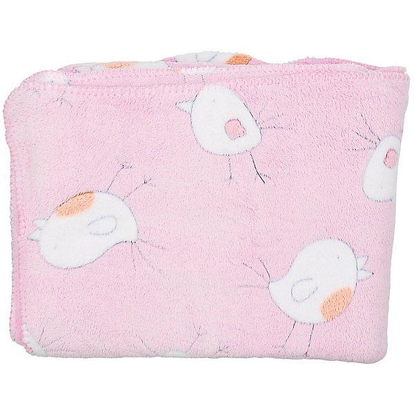 Baby Nice Плед-покрывало Птичка 100х118 Velsoft 2-стороннее оверлок, Baby Nice, розовый покрывало из велсофта лондон