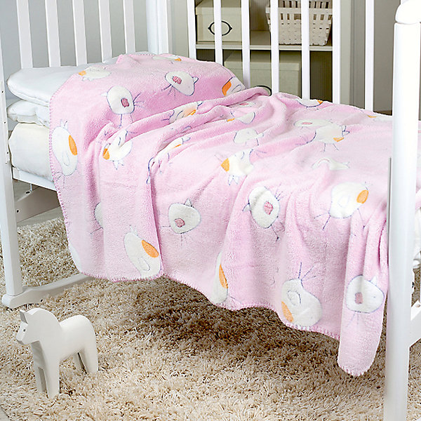 Baby Nice Плед-покрывало Птичка 100х150 Velsoft 2-стороннее оверлок, Baby Nice, розовый