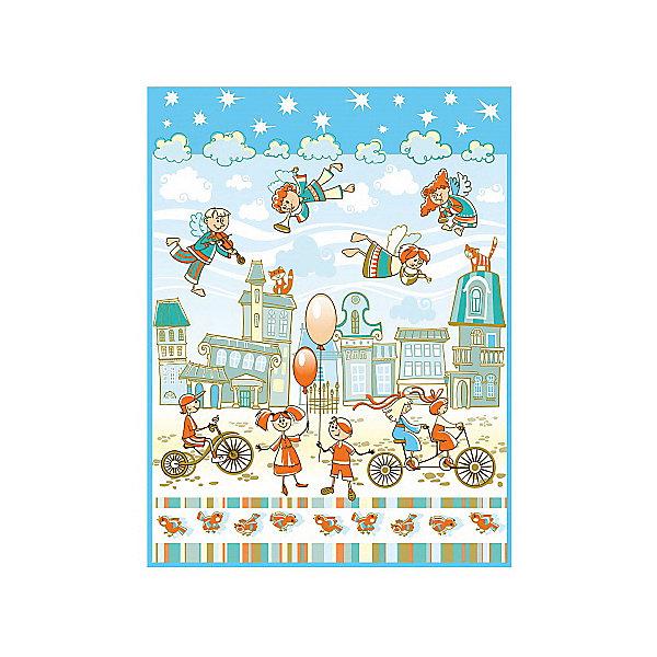 Купить Плед-покрывало Ангелочки VELSOFT 2-х сторонн. Панно 150*200, Baby Nice, голубой, Россия, Унисекс
