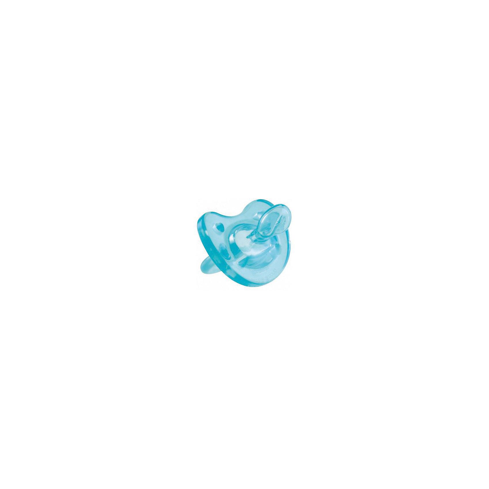 Силиконовая пустышка Physio Soft 0-6мес., CHICCO, голубой