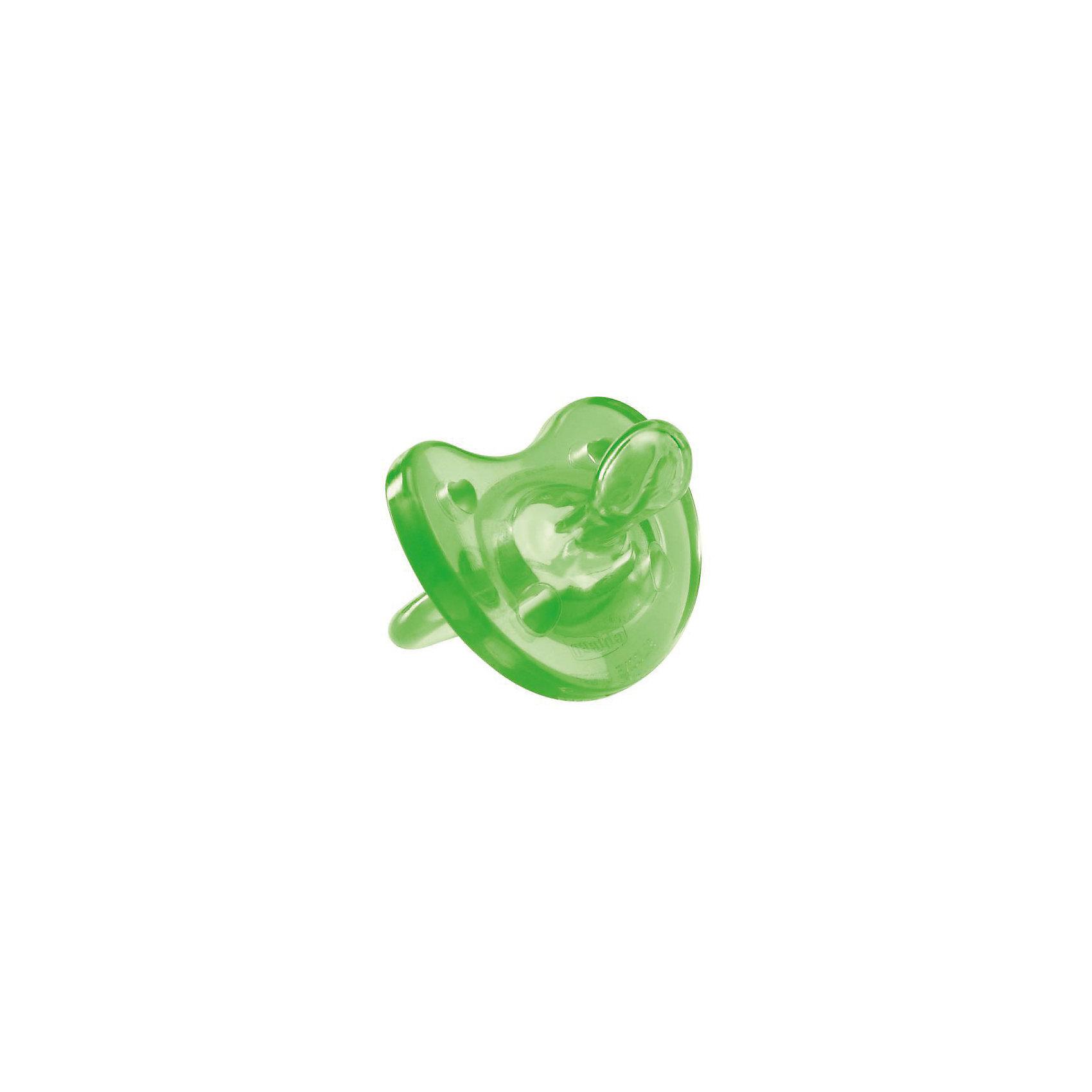 Силиконовая пустышка Physio Soft 4мес.+, CHICCO, зеленый