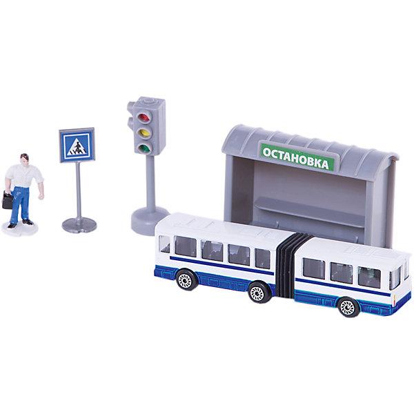 """Фотография товара набор """"Троллейбус 12см с остановкой и аксессуарами"""", ТЕХНОПАРК (4950436)"""